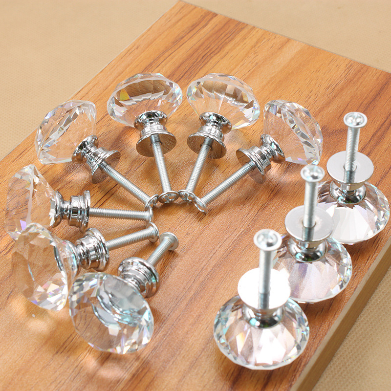 30mm Diamond Crystal Door Knobs Glass Drawer Knobs Kitchen Cabinet Furniture Handle Knob Screw Handles and pulls GGA933