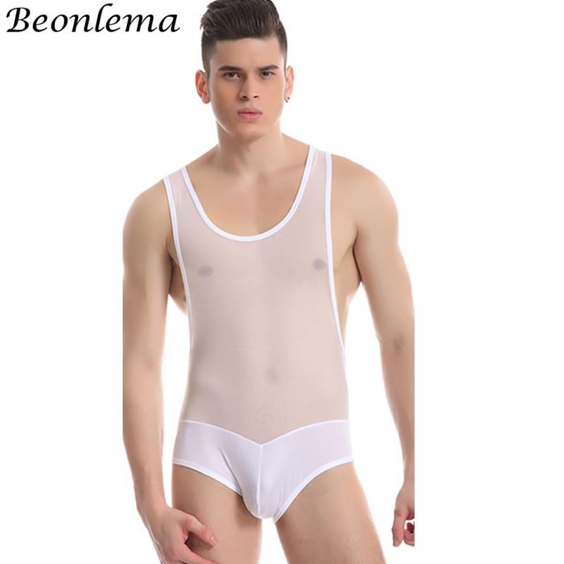 Beonlema Men Stretchy Body Modeling Shaper Sexy Perspective Bodysuit Vest Mesh Homme Shaperwear Tummy Controlling Underwear