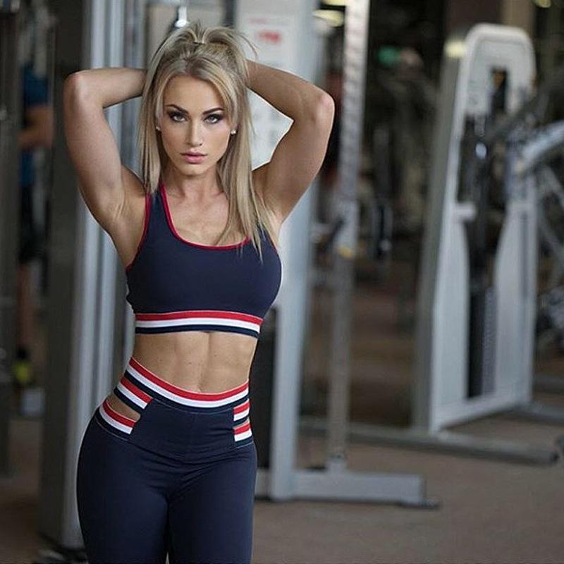Женская сексуальная 2 шт. йога набор Strpied эластичный съемный Pad Quick Dry костюмы спортивный бюстгальтер растениеводство топы танк Fittness длинные леггинсы