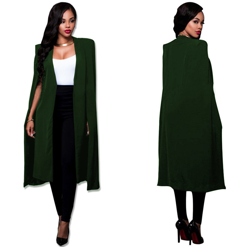 S-4XL Fashion Cloak Cape Blazer Women Autumn Winter Coat Lapel Split Long Sleeve Casual Suit Jacket Outerwear Workwear Plus Size S930