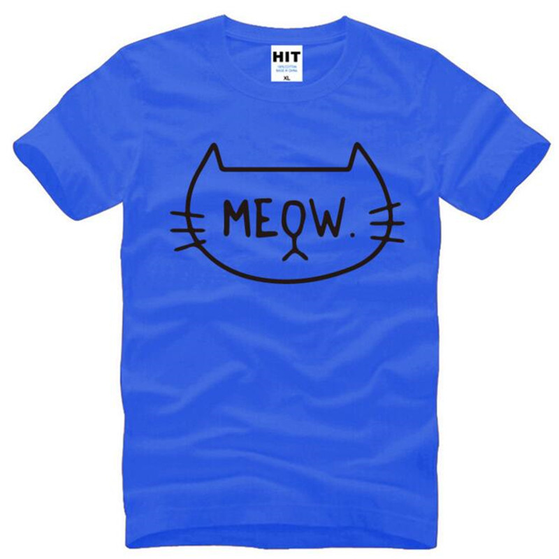 Cute Cartoon Funny MEOW Cat Printed T Shirts Men Summer Style Short Sleeve O-Neck Cotton Men's T Shirt Novelty Tee Shirt Homme