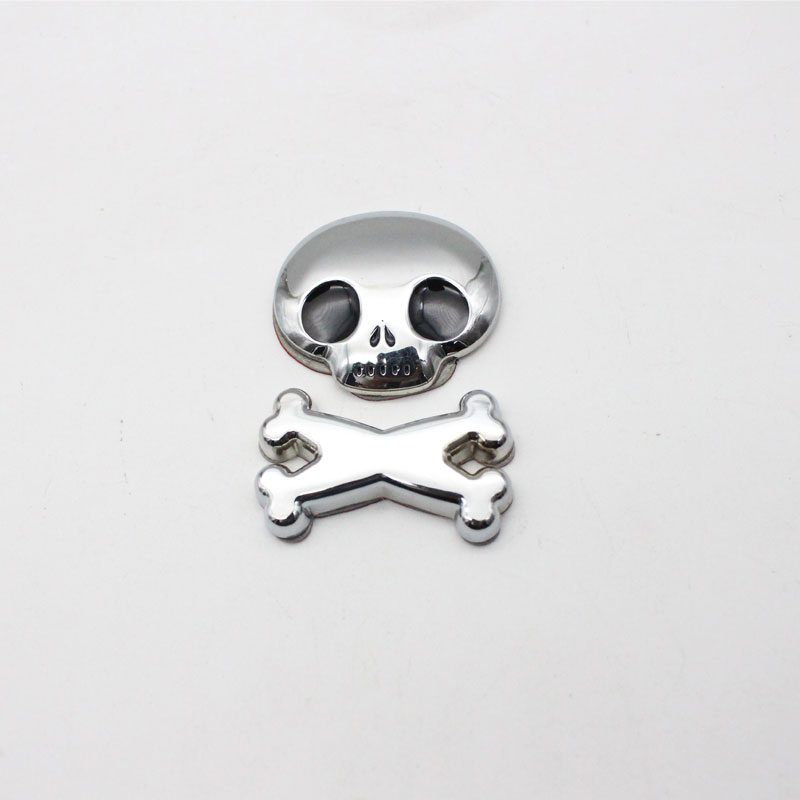 Cool 3D Black Rear Front Roof Fender Hood Skull Demon Bone Badge Emblem Metal Sticker For Car Styling