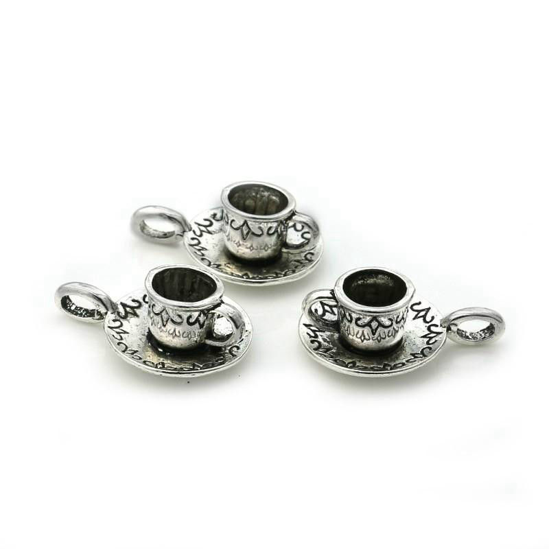 5x Tiny Charms Love Coffee Cup Set Old Silver Beads Pendant DIY 13*13mm