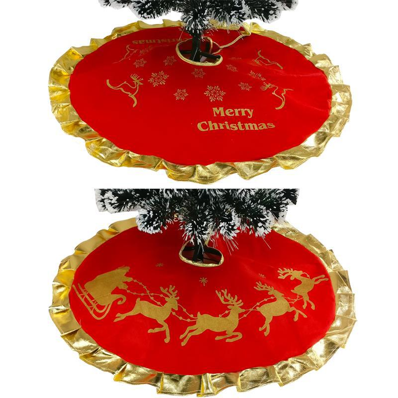 Red Christmas Tree Skirts Carpet Party Ornaments New Christmas Decoration For Home Flannel Xmas Trees Skirt Aprons