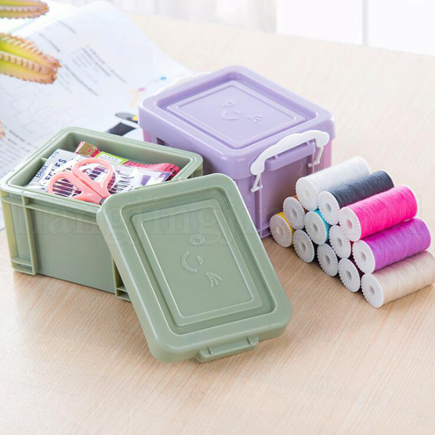 Needle Threads Box Set Portable Mini PP Sewing Box Storage Box Home Sewing Kits OOA5807
