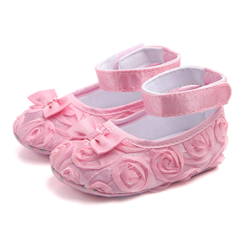 Rose flower Bow baby footwear first step neonatal soft soles baby bed shoes baby girl princess shoes 0-12M