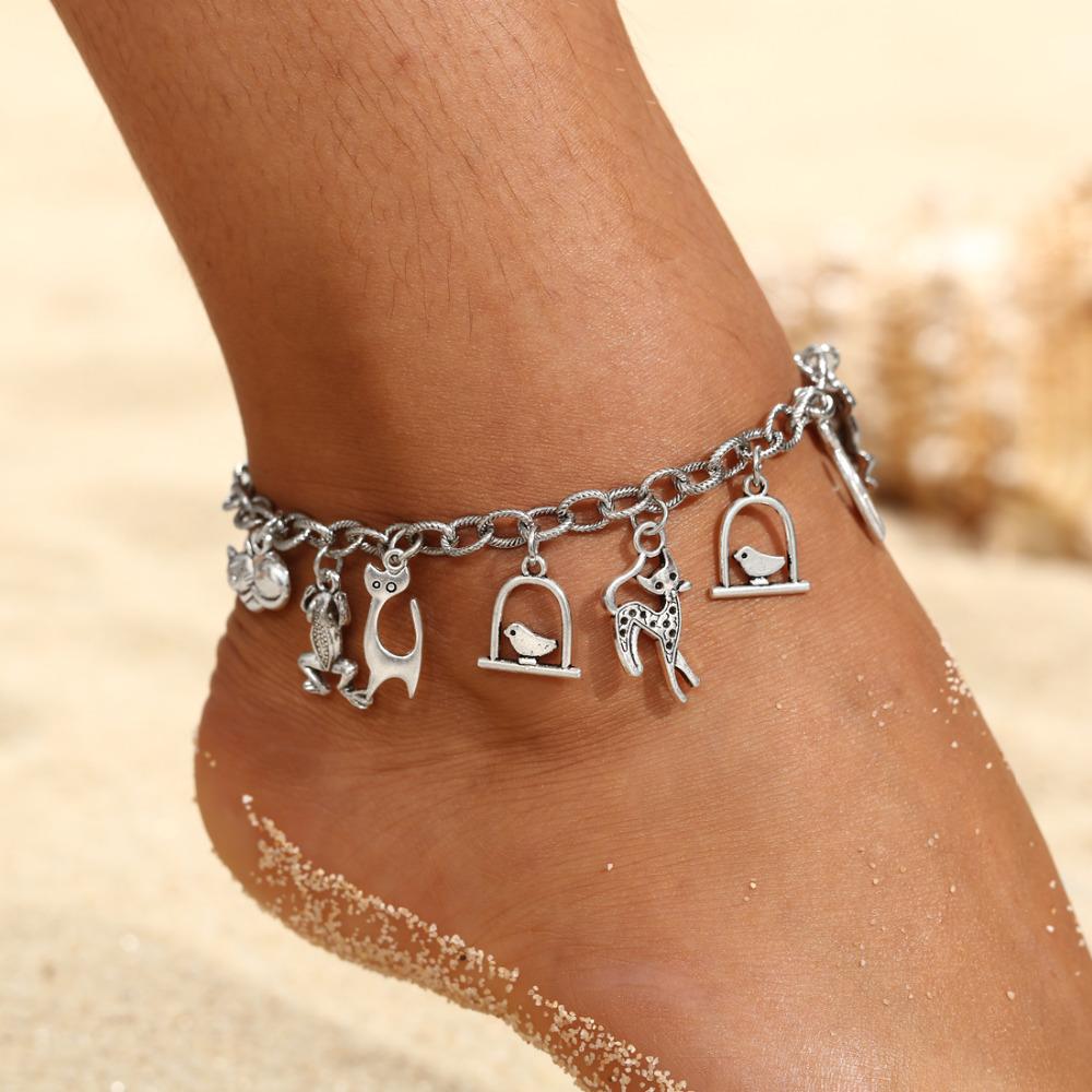 Boho Anklet Foot Chain Ankle Summer Bracelet Charm Anklet Tibetan Silver Tassel Sandals Barefoot Beach Foot Bridal Jewelry Gift