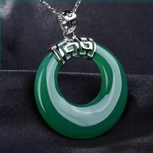 Calcedonia verde natural cadena suéter colgante con 925 joyas de plata al por mayor