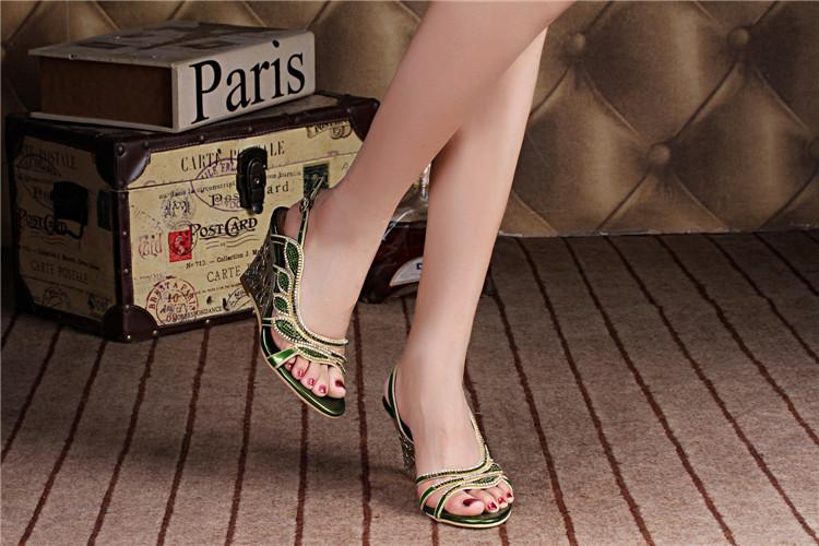 2016 Summer New Luxury Diamond Shoes Women 8cm High Heels Sexy Wedge Sandals Big Size 115