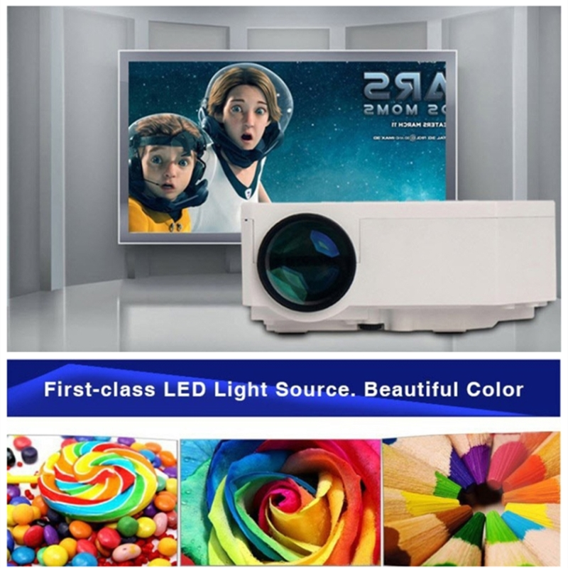 Mini Projektor UC30 1080P Tragbare LED Projektor Für Heimkino Theater HDMI AV VGA USB SD Micro USB Multimedia Player Projektor Weiß