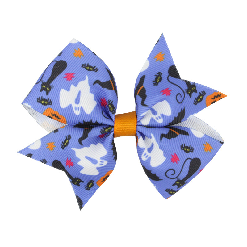 Girls Halloween pumpkin hairpins Barrettes 12 Design children spider hair accessories princess Layered Bow Hair clips best gifts LE146