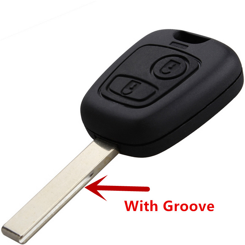 FOR PEUGEOT Key Blank 107 207 307-2 Button Replacement Remote Shell with Groove