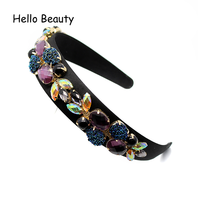 Wide Luxury Vintage Hair Jewelry Purple Crystal Headband Black Beads Hair Band AB Rhinestone Baroque Hairband For Women S918
