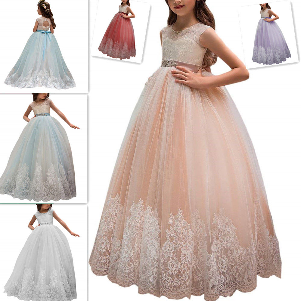 Kids Flower Girl Dress With Bow Sash Lace Applique Ball Gown Kids ...