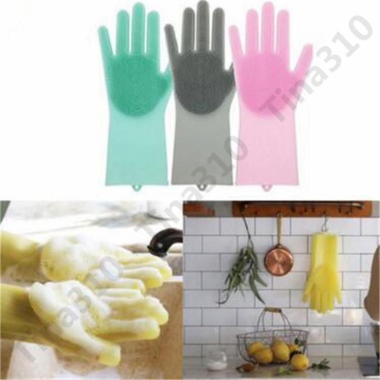 2 unids / par Magic Silicone Dish Lavado Guantes Eco-Friendly Scrubber Limpieza Multiusos Cocina Cama Cuarto de baño Cuidado del Cabello 6 par T1I949