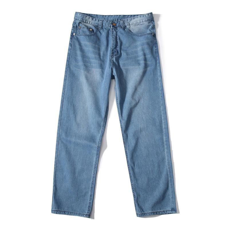 MORUANCLE Men's Baggy Hip Hop Jeans Pants Loose Skateboard Denim Trousers Streetwear Plain Solid Plus Size 30-46 D18102401