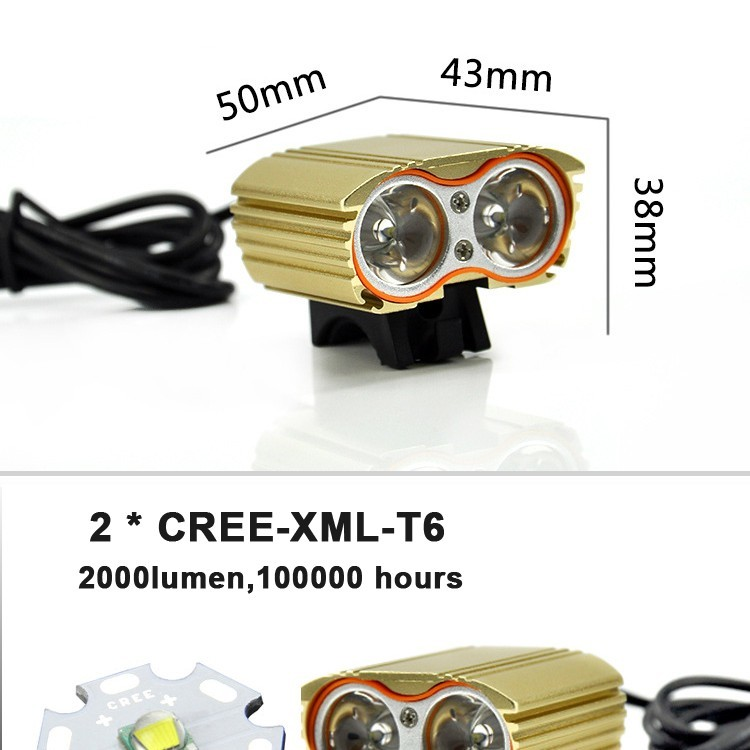 2000 Lumen Double T6 Bike Bicycle Cycling LED Light Flashlight High Brightness Lamp Front Light (3)