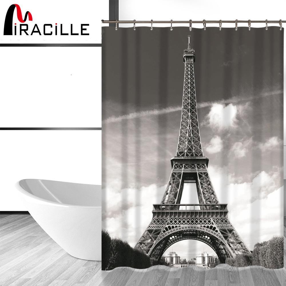 "Purple Car And Eiffel Tower France Bathroom Fabric Shower Curtain Waterproof 71/"""
