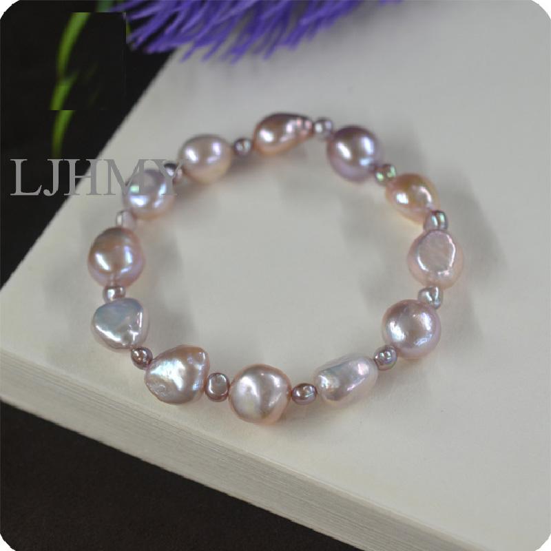 """Genuine 8-9 mm Naturel Blanc//Rose Pearl Bracelet 7.5/"""" Culture D/'eau Douce"""