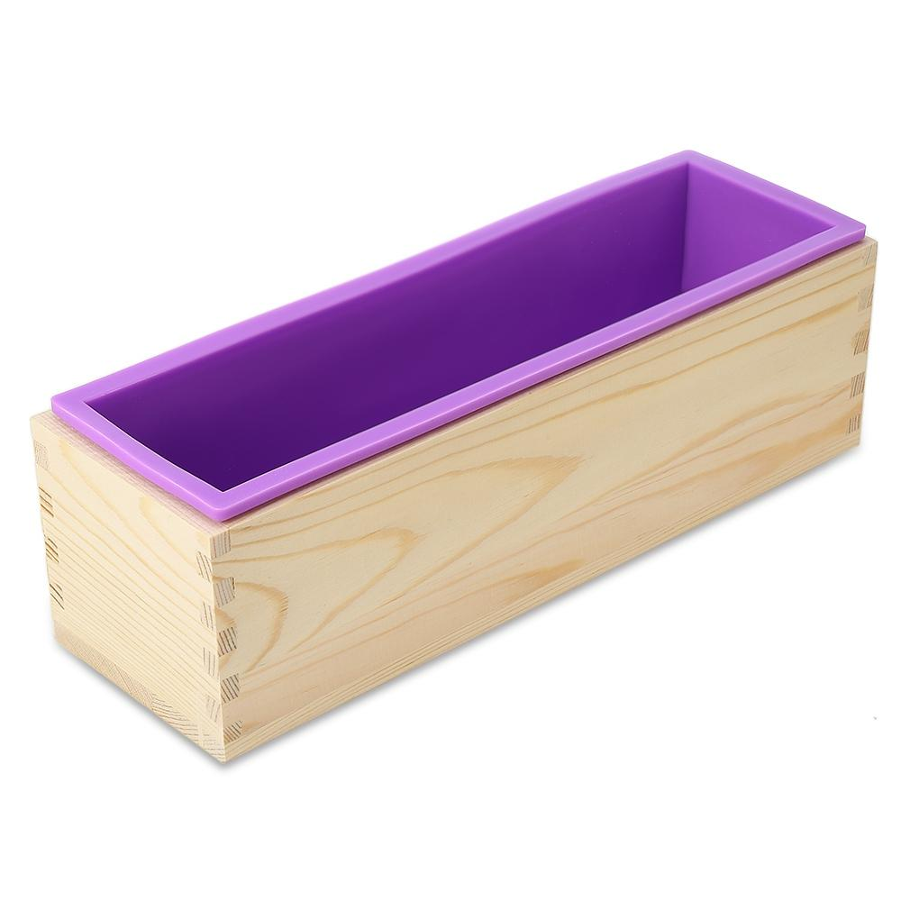 Wooden Soap Loaf Cutter Mold and Rectangle Silicone Mould with Wood Box Mould Free Cutter Maker Box Rectangle Candle DIY Making Loaf Swirl