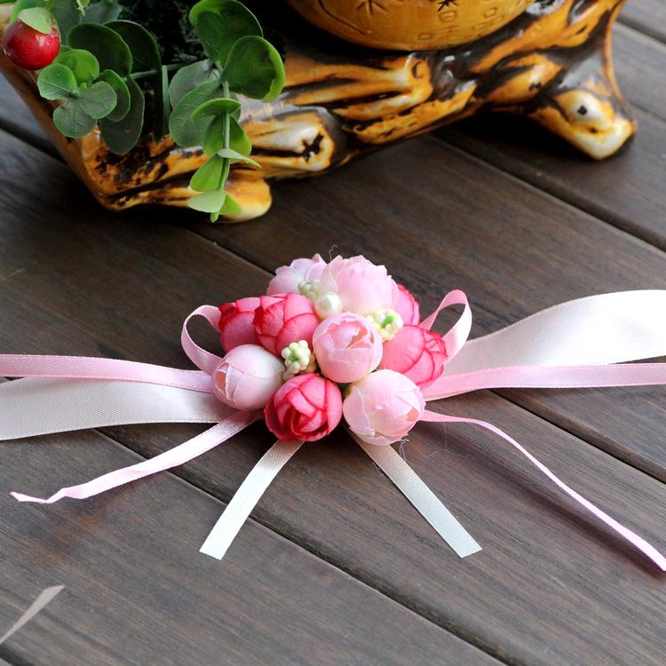 Wedding Favor Wrist Flower Rose Silk Ribbon Bride Corsage Hand Decorative Wristband Bridesmaid Curtain Band Clip Bouquet