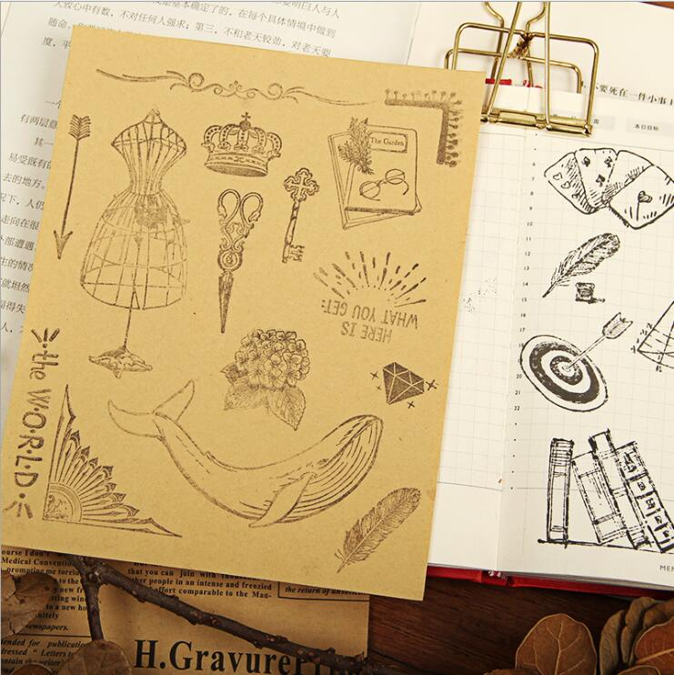 Retro Series Transparent Clear Silicone Stamp for DIY Scrapbooking/Card Making Kids Fun Decoration Supplies