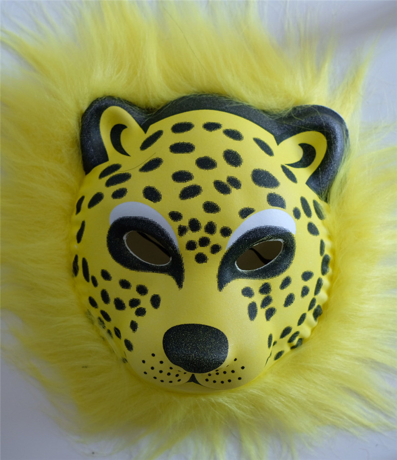 Halloween Plush Animal Mask Lion Leopard Tiger Children EVA Mask Halloween Party Costumes Props Halloween Masks Toys Best Kids Gift Cosplay