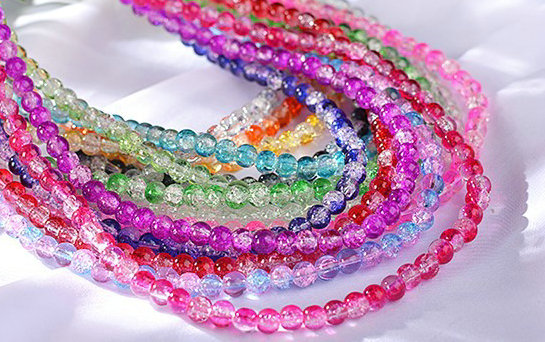 100Pcs Mixed Color Crystal Crack Glass Round Loose Spacer Beads 4mm