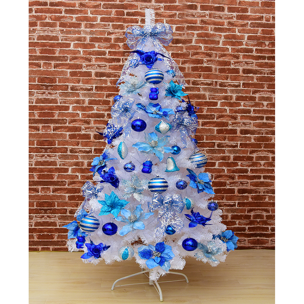 1 2m Christmas Tree Decoration Set Decoration European Treasure Blue White Tree Ribbon Ball Light Strip Mtc003 Commercial Christmas Decoration