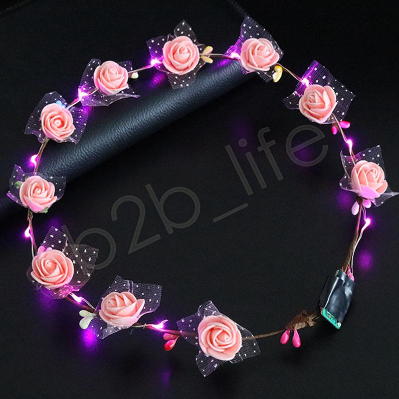 Blinkende LED Haarbänder Strings Glow Blume Krone Stirnbänder Licht Party Rave Floral Haar Girlande Leucht Kranz Haarschmuck GGA1276