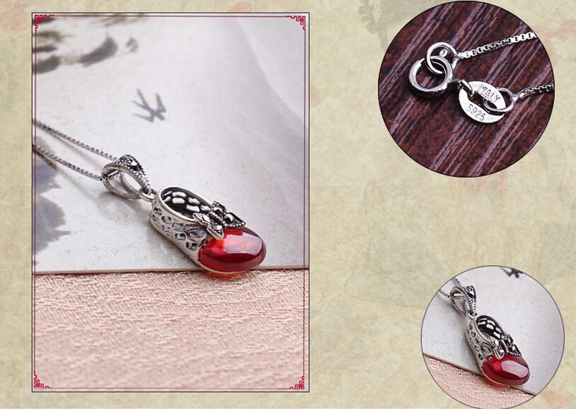 Neuf collier en argent sterling 925 grenat rouge thai argent papillon princesse chaussures chaîne collier bijoux