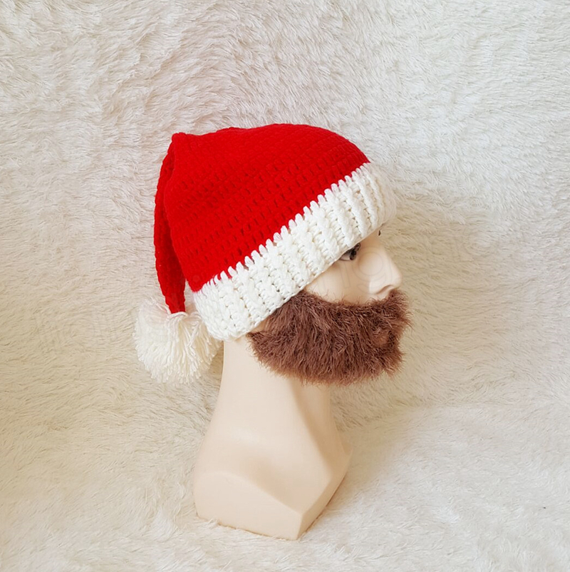 Christmas Beard Hats Knitted Beard Mask Cap Winter Santa Clause Cosplay Hat Warm Ear protective Skiing Headgear kids caps GGA1045