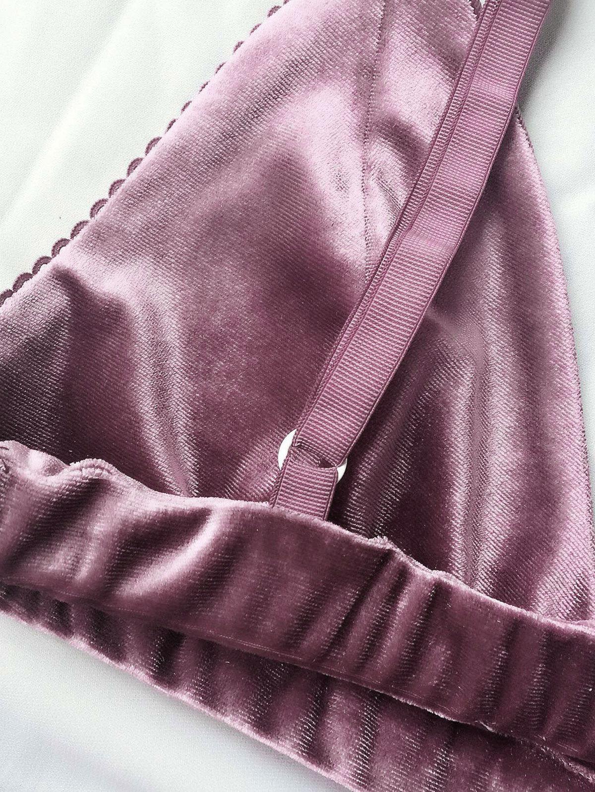 Kenancy Moda Mujer Sujetador de Terciopelo Ropa Interior Correas Bralette Bragas Sujetador de Ajuste Suave Conjuntos de Cintura Alta Push Up Bra Set C18111601