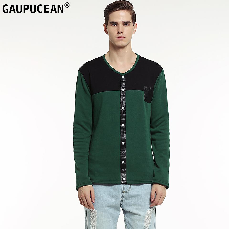 Hakiki Gaupucean Pamuk Adam Kalın T-shirt V Yaka Patchwork Siyah Yeşil Polar Kış PU deri cep Erkekler Uzun Kollu T Gömlek