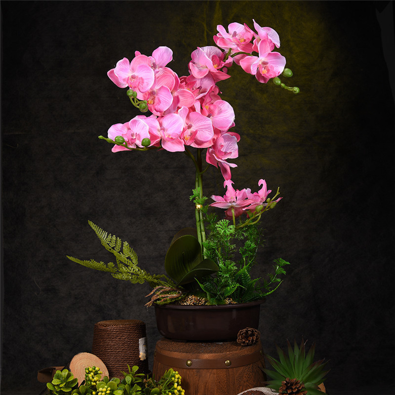 Creative Artificial Flower Plant Potted Bonsai Gift Fake Butterfly Orchid Flowers Plants For Wedding Home Decor C18111501