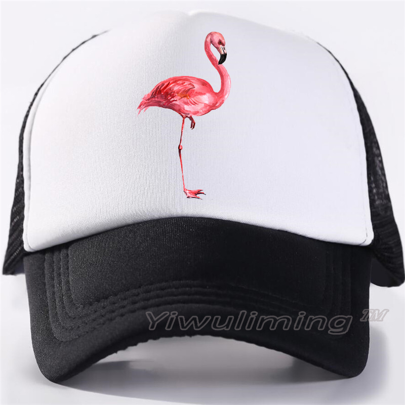 Flowers and Flamingo Man Adult Cap Adjustable Cowboys Hats Black