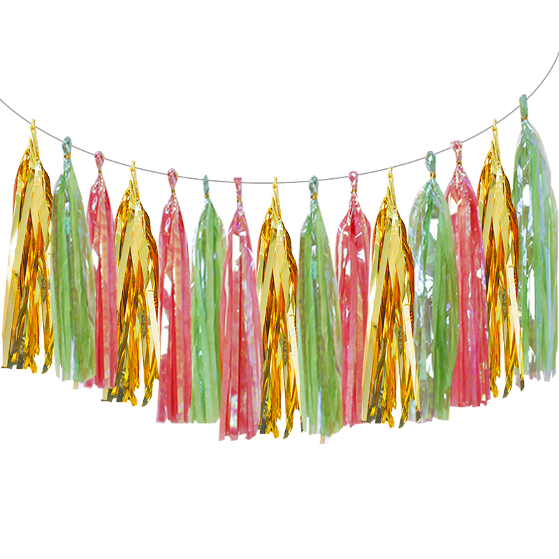 Paper Iridescent Tassel Garland Paper Flags Banner For Halloween Christmas Wedding Birthday DIY Party Hanging Decor Suppliers