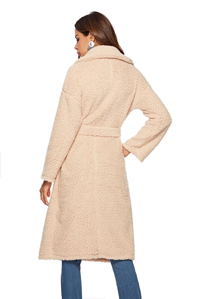 faux lambswool women long section coat outerwear-8
