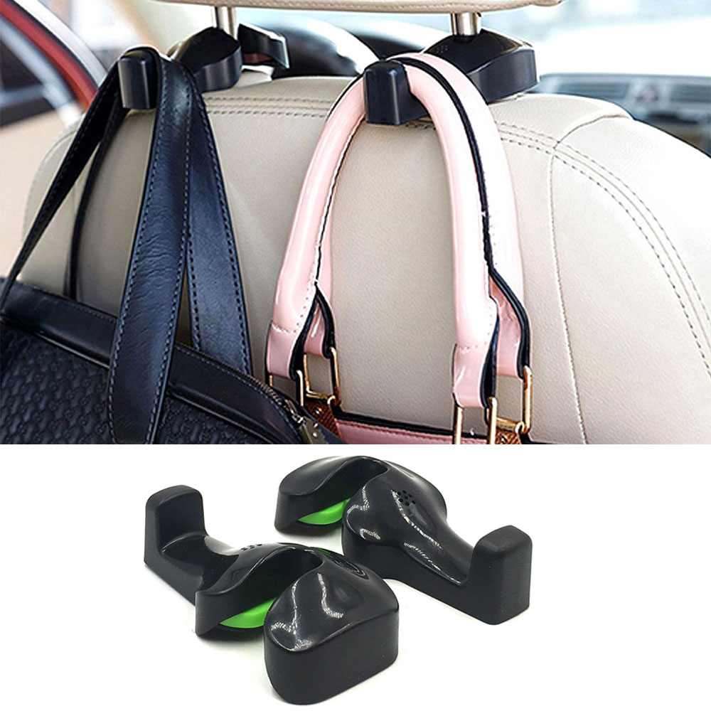 Multicolor 2Pcs Bling Car Headrest Hooks,Auto Backseat Metal Hanger Holder,Automotive Seat Back Organizer Storage for Purse,Handbag,Clothes,Umbrellas,Cute Car Accessories Interior for Women