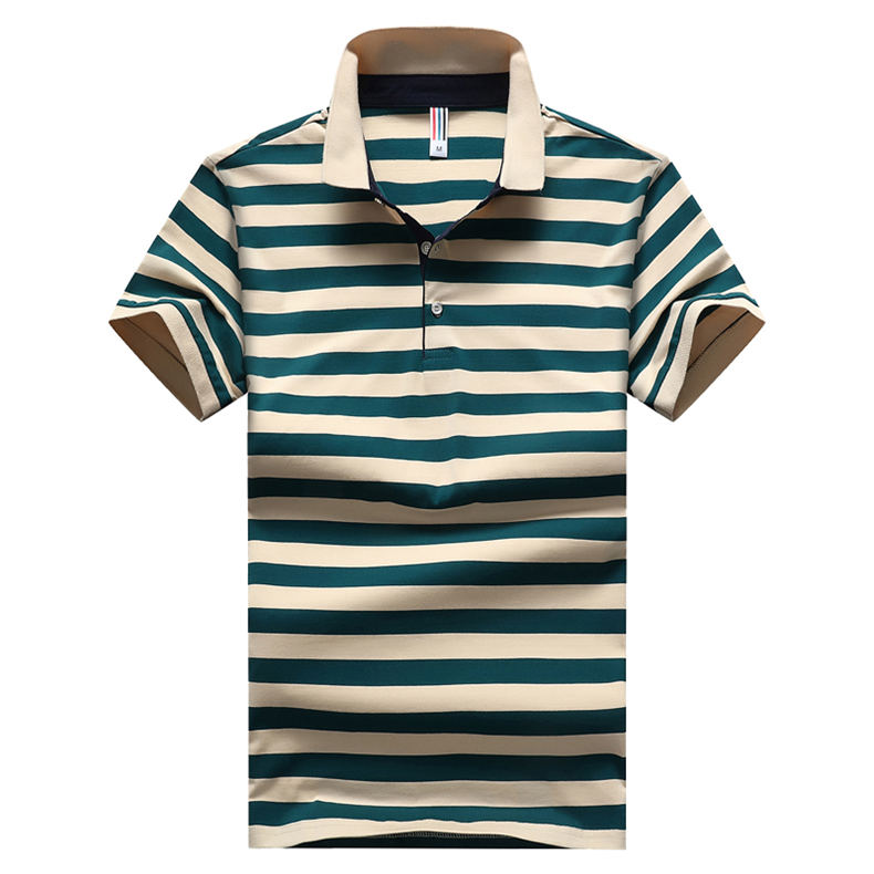 2018 Summer Mens Polo Shirt Classic Striped Cotton Short Male Polo Men Tees Breathable Quick Dry Plus Size 4XL Red Muls Brand-03