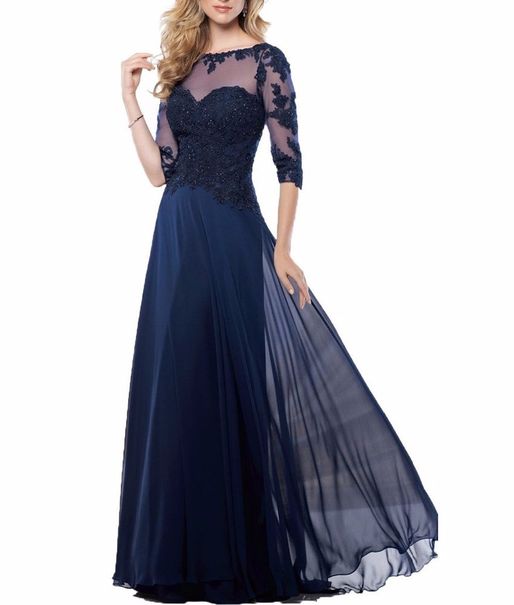 Chiffon-Navy-Blue-Dark-Red-Champagne-Mother-of-the-Bride-Dresses-2016-Three-Quarter-Sleeves-Long (2)