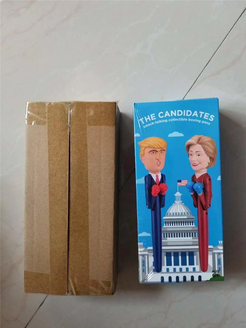 2019 The Candidate Trump Decompression Boxing Pen New Hillary Design President Pens America Great USA Intelligent Toys Pen Fancy Gift