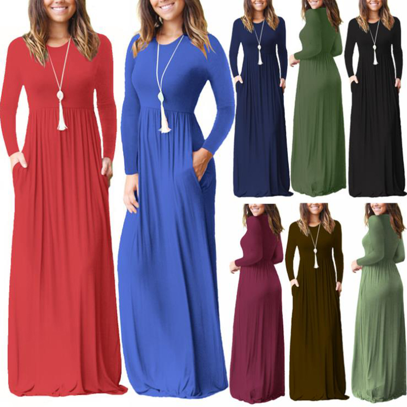 Womens Clothing Fashion Solid Color Long Dress for Women Csual Pocket Dresses with Long Sleeve Crew Neck S-XXL