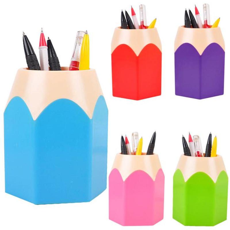 H1 Pen Vase Makeup Brush Holder Stationery Desk Container Office Supply Red