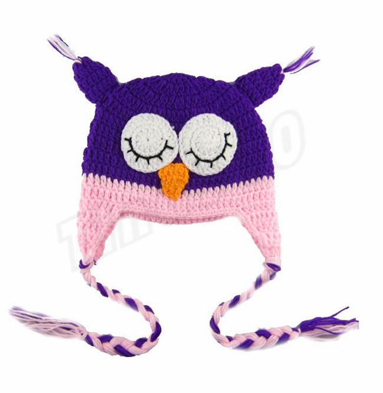 New Cotton Children hats Handmade Crochet Monkey and Piggy and Parrot Hats Various Animal Styles Cartoon hats Baby Owl Beanie Hat 4006