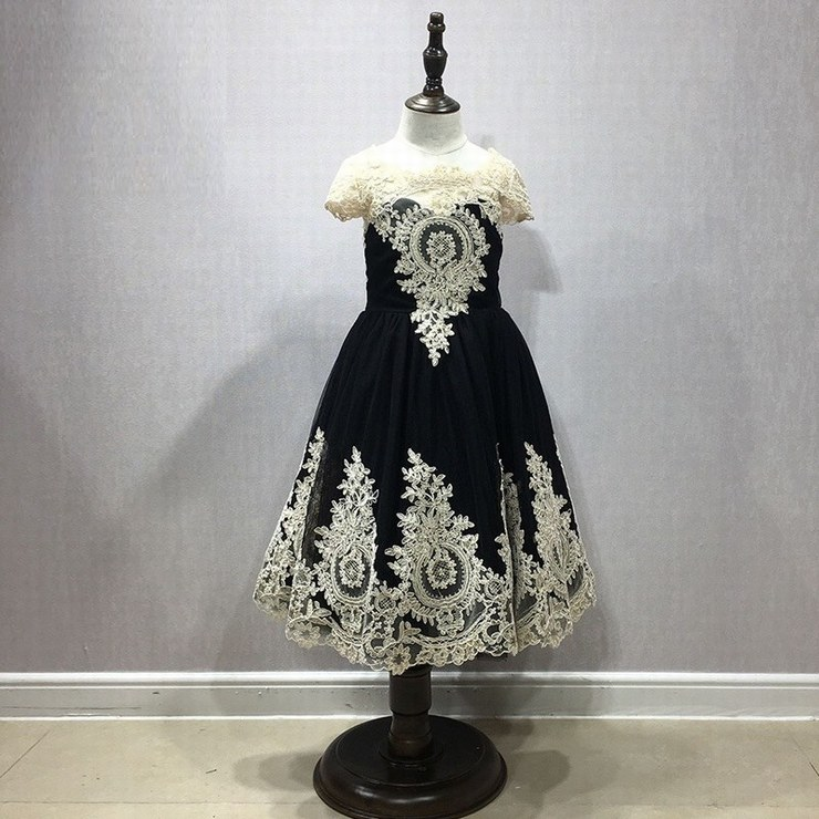 High Quality Flower Girl Dresses Mother and Daughter Dress Vintage Ball Gown Champagne Lace Tulle Formal Dress Party Gown