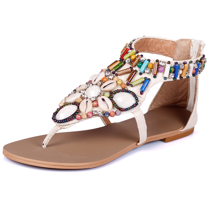 2018 Spring Summer Bohemian Shells Beading Rome Ankle Buckle Strap Gladiator Flat Red Black Flip Flops Sandals Shoes Women