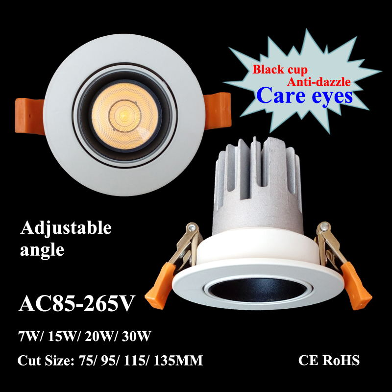 220V Dimmable Driver Wattage 5W Cold White 6000K 5W Cold White 6000K Anti-Dazzling LED Square Downlights 75mm Cut Hole 85-265V Driver 5W 10W 15W Recessed Mounted Spot Lamp for Kitchen Use Size
