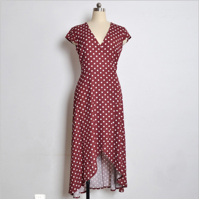 2018 women V-neck dress casual Polka Dot skirt fits holiday ladies beach sexy long dresses Asymmetrical folded colorful dress