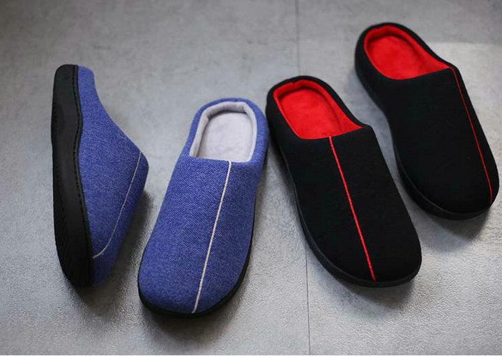 High Quality Velvet With Soft Fleece Outside Comfortable Soft Sole Men Memory Foam Home Slipper Men Shoes (9)